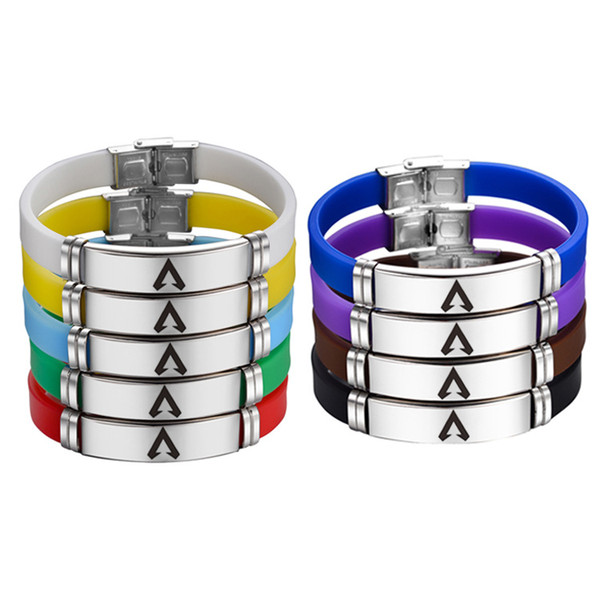 9styles Apex Legends Bracelet Stainless Steel Bangle Printed Silicone Game gift wristlet Jewelry party favor adjustable men Bracelet FFA1690
