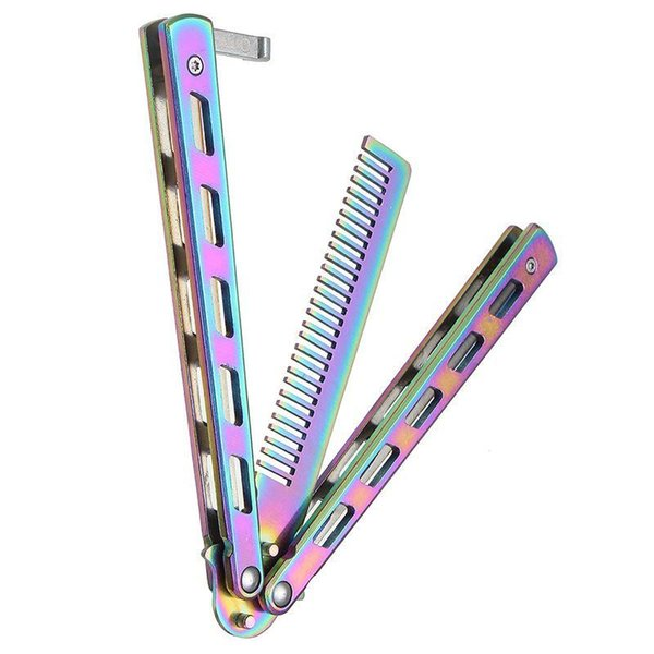 Foldable Comb Stainless Steel Practice Training Butterfly Knife Comb Beard & Moustache Brushes Hairdressing Styling Tool