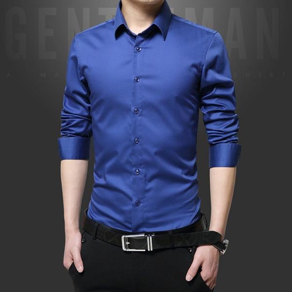 Laipelar Marca homens vestem camisas algodão mercerizado cor sólida Slim Fit manga comprida de seda shirt Suave Mens Shirts Big Tamanhos S-5XL