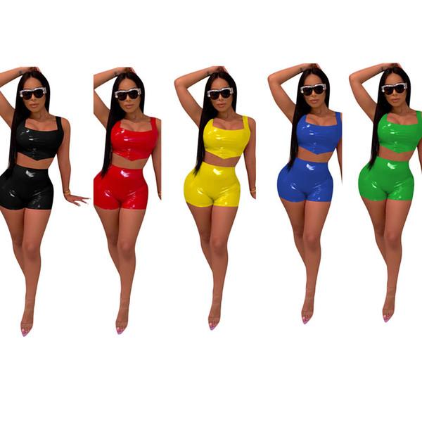Été Femmes PU En Cuir Débardeur Crop Top + Shorts 2 Pièce Ensemble Night Club Outfit Sexy Maigre Gilet Sans Manche Streetwear Party Short Suit C3294