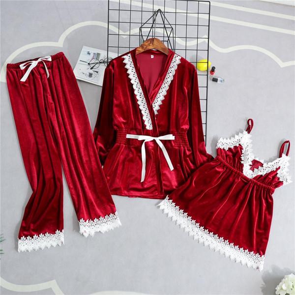 Sonbahar Kış Kadife Kadın Pijama Pijama Set Dantel Trim 3 ADET Pijama Rahat Ev Giysileri Kalın Sıcak Gecelikler Takım Pijamas