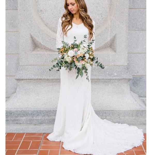 Vestido De Novia Elegante encaje sirena vestidos de novia Media manga vestido de fiesta nupcial Robes De Mariee vestido de boda