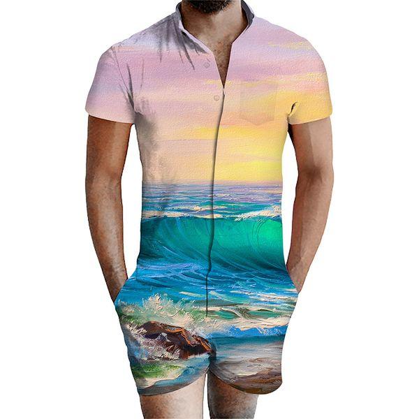 Été Hommes Couleur Mixte Designer Designer Vague Imprimer V Cou 2pc Costumes 3d Hommes Nouveau Casual Shorts Mode Hommes Vêtements