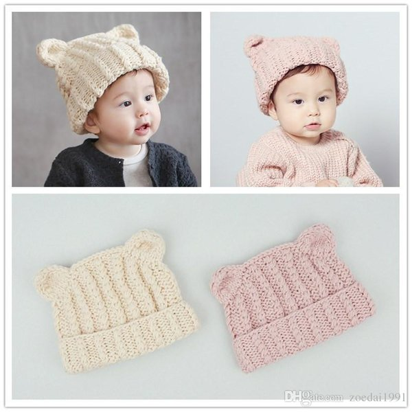 Winter cat ear Hats For Girls Children kids Toddler Wool Warm Hat Child Knitted Painter Hat Baby Berets Hat