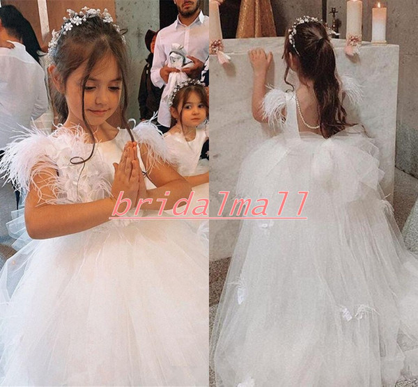 Princess 2020 White Appliques Tulle Flower Girls Dresses With Sash Little Kids Girls Pageant Dress Backless Children Party Wedding Gowns