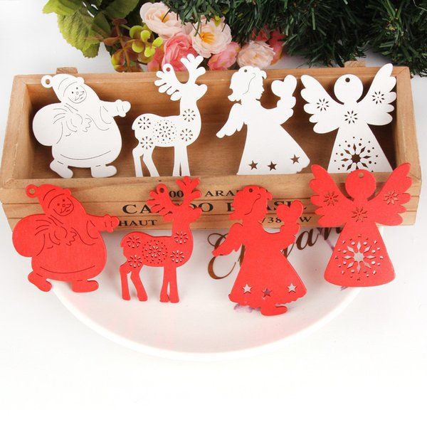 10PCS/Lot White&Red Creative Wooden Pendants Ornaments For Christmas Party Xmas Tree Ornaments Decorations Kids Gifts Supplies