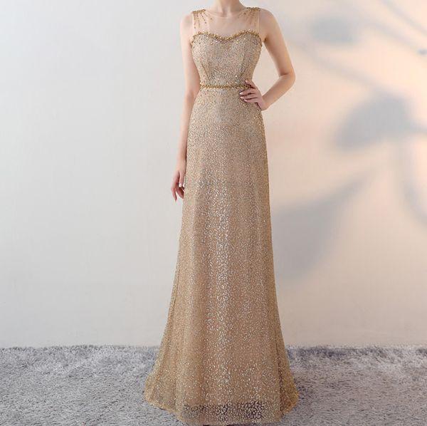 Light Gold Mother of the Bride Dresses Shining Sequins Beads Tulle Long Mother of the Bride Dress Zipper Back