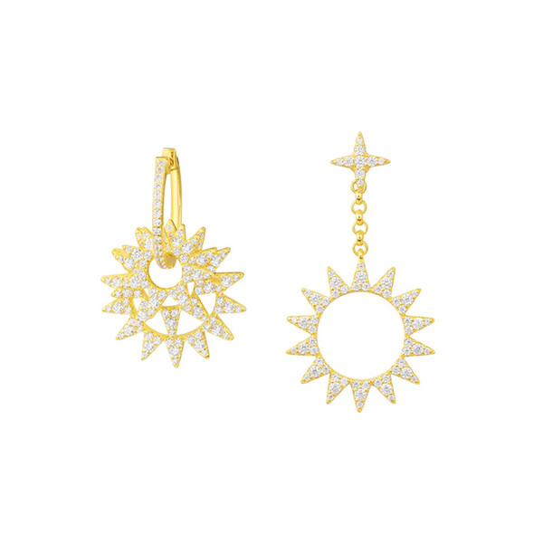 APM Monaco 925 Gümüş kakma Elmas Altın küpe Kadın mizaç Güneş kulak kolye Basit ve zarif küpe