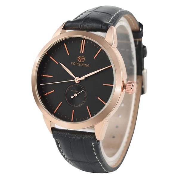 Clásico Reloj de pulsera con correa de cuero genuino suave para los hombres Moda Relojes con esfera grande Reloj automático de cuerda automático de lujo para hombres
