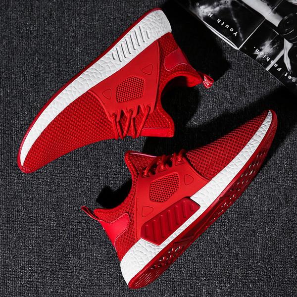 2019 Moda Sıcak Satış Popüler rahat ayakkabılar mens Yüksek Kalite Moda Rahat Marka Nefes Erkek Ayakkabı Gri Kırmızı siyah sneakers