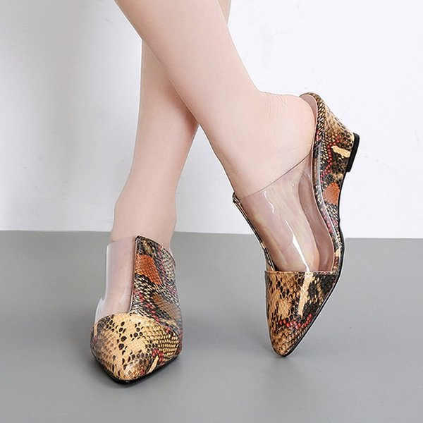 017f8332c YOUYEDIAN 2019 Verão Chinelos Moda Feminina Apontou Toe Serpente Impressão  Slides Cunhas Casuais Mulheres Chinelos Sapatos