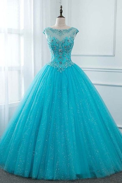 Turquoise Bling Tulle Sweet 16 Dresses Applique Crystal Beaded Sequins Quinceanera Dress Ball Gown Prom Dress Lace-up Cocktail Party Dress