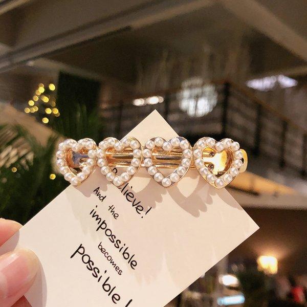 6369# Pearl Love Side Clip-gold