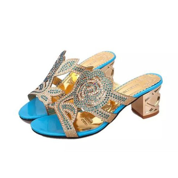 2019 Good Quality Women's Fashion Casual Crystal Outdoor Slippers Square Heel Shoes Flower Sandals Zapatillas De Mujer 15