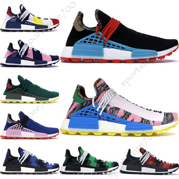 Zapatillas de running para hombre HU Pharrell NMD Human Race con caja Pharrell Williams Sample Yellow Core Black Sport Designer Shoes Mujer Zapatillas 36-47