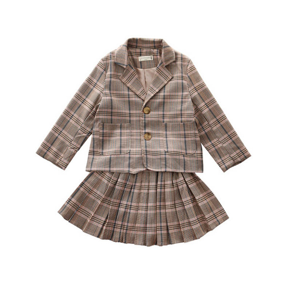 New Girls suits kids outfits girls fall boutique clothing kids designer clothes girls coat+pleated Skirts 2pcs kids clothing A7417
