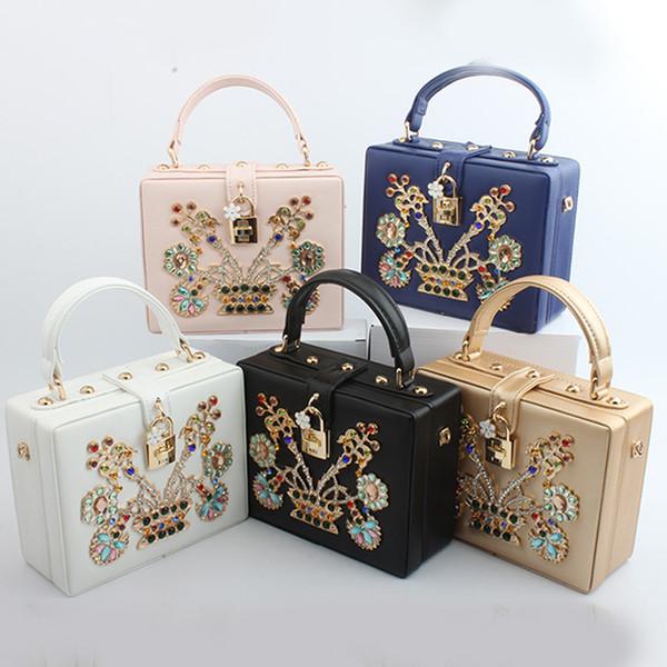 Women Leather Handbag Luxury Diamond Flower Hollow Flap Shoulder Bag Ladies High Quaity Evening Bags Dinner Purse