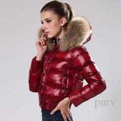 Clothing Top quality Women Winter M Duck Down Coat Real Large Raccoon Fur Collar M Down Jacket Hooded Waist Thick Duck Down Parkas