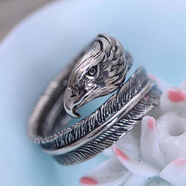925 joyería de plata esterlina de la vendimia Indian Eagle pluma de apertura del anillo de tamaño ajustable para mujeres hombres regalo