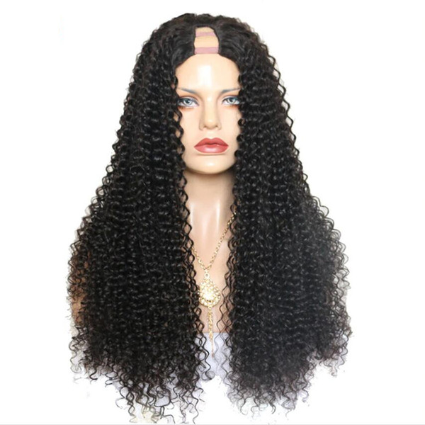 Brazilian 2*4 Size Deep Curly U Part Wigs Remy Human Hair Lace Front Best Match Glueless For Women Natural Thick