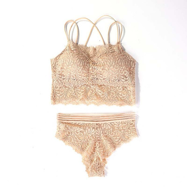 Women Sexy No Steel Ring Wire Free Bra with Panty Lace Floral Briefs Underwear Triangle Cup Bra Set