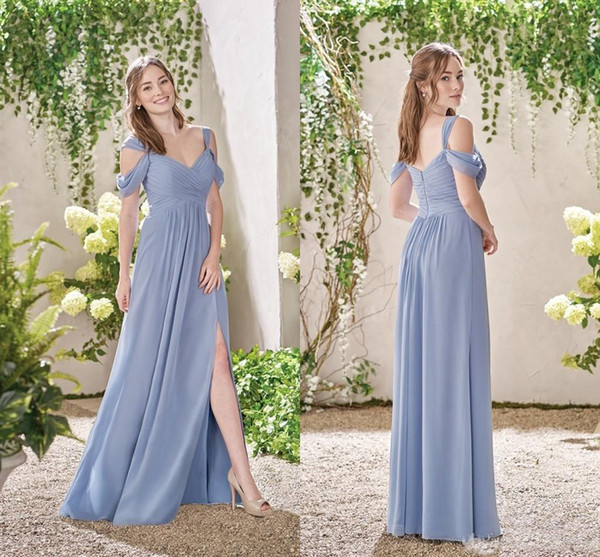2019 Garden Off The Shoulder Bridesmaid Dresses Sexy Side Split A Line Floor Length For Wedding Wear Maid Of Honor Wedding Guest Gown