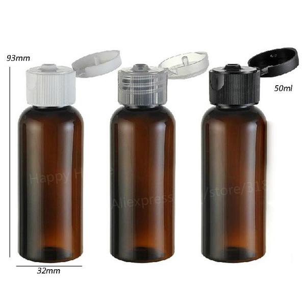 30 x 50 ml Portable PET en plastique rechargeable flip Bouteille Cap brun ambré TOp Vider Lotion récipient cosmétique