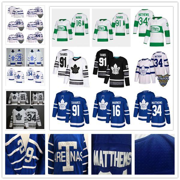 Herren Jugend 91 John Tavares 34 Auston Matthews 16 Mitch Marner 29 William Nylander St. Streicheleinheiten Toronto Maple Leafs Hockey Trikots