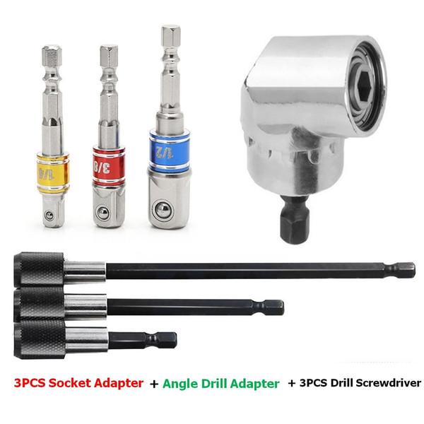 Power Drill bits Tools Set 3 PCS Colorful Socket Adapter Impact Hex Shank Drill Nut Driver Power Bits