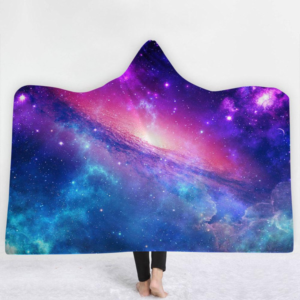 38 Styles Universe Moon Earth Planet Meteor 3D Printed Plush Hooded Blanket for Beds Warm Wearable Soft Fleece Throw Blankets