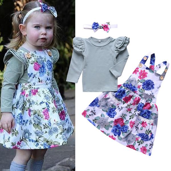 2019 Meninas do bebê suspender Ternos de Vestido 3 pcs Conjuntos (voando Tshirt Da Luva + vestido floral + arco Headbands) Toddle Infantil Bonito Crianças Roupas Roupas