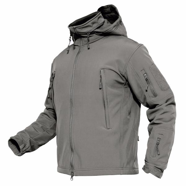 Куртки мужские зимние Softshell руно тактические куртки в стиле армии США с капюшоном водонепроницаемая ветровка куртка