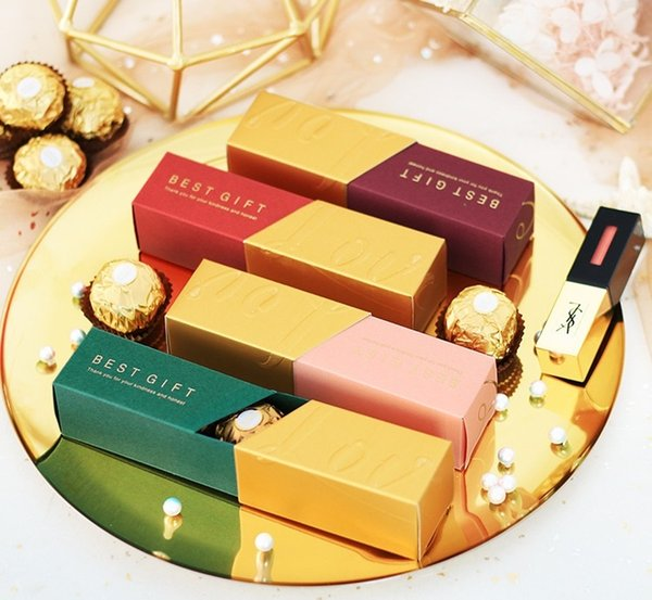 Free Shipping Wedding Favor Box Chocolate Candy Box Paper Lipstick Style Gift Boxes for Guests W9689