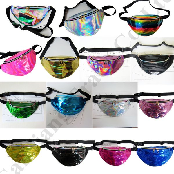 Women Designer Fanny Pack Laser Hologram belt Waist Bag Waterproof Translucent Shiny Chest Bags Travel Beach Bum Bag Phone Pouch C72601