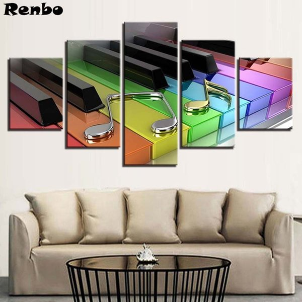 5D DIY Diamond Painting 5 Pieces Colorful Piano Keys Paintings Cross Stitch full square round drill Rhinestone picture Pastes