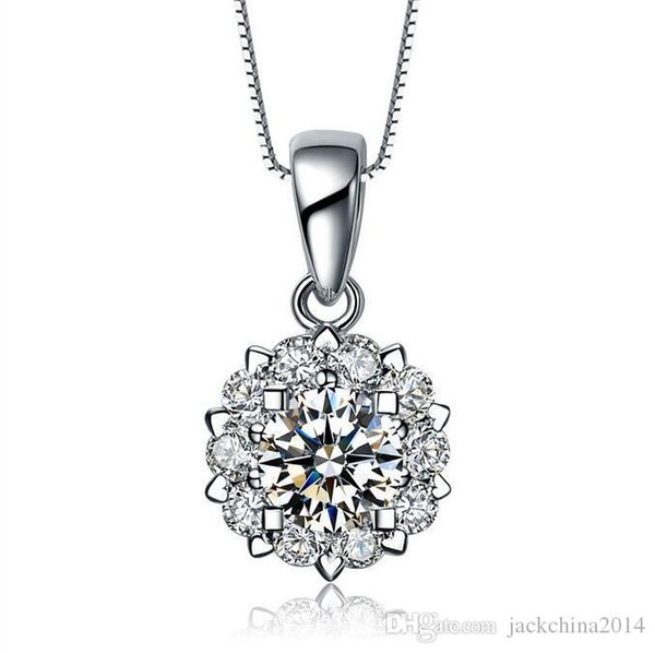 Luxury Jewelry 925 Sterling Silver Pave Stunning Round Cut White Sapphire CZ Diamond Gemstones Women Necklace Pendant No Chain