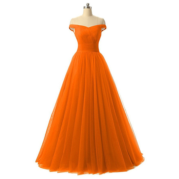 2019 New Arrivals Orange Off The Shoulder A-line Long Bridesmaid Dresses Tulle Wedding Guest Maid of Honor Dresses 100% Real Image