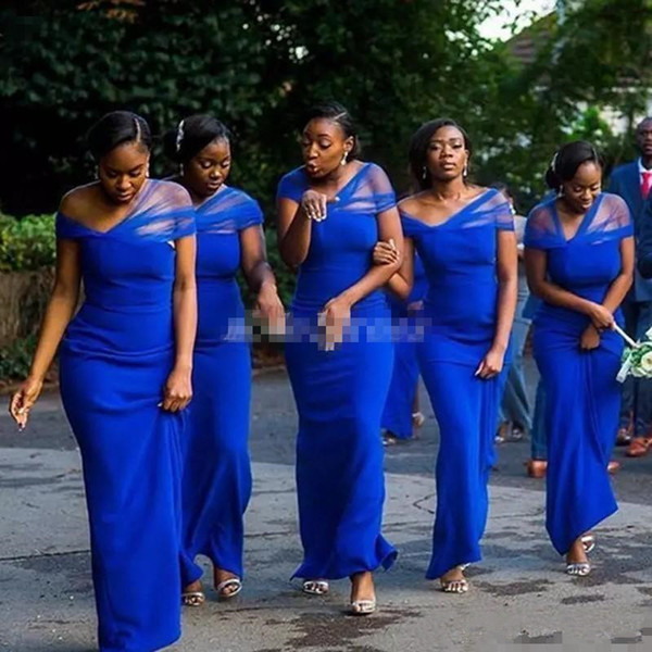 Convertible Royal Blue Mermaid Bridesmaid Dresses Floor Length Garden Beach Country African Wedding Guest Gowns Maid Of Honor Dress 2019