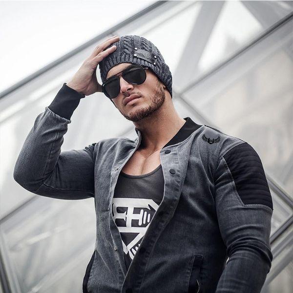 FOTOS REAIS Moda 2019 outono jaqueta masculina tamanho grande cardigan jaqueta jeans cinza preto homens outerwear casaco