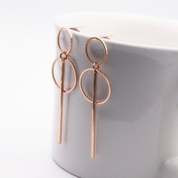 Nouveau mode ronde géométrique élégant Cercle Boucles d'oreilles Hoop Double creux Cercle Mode Boucles d'oreilles pour les femmes exquis cadeau e0204
