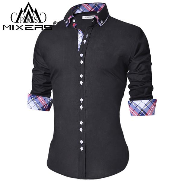 2018 dos homens camisa casual slim fit dos homens botão casual para baixo da camisa de manga longa camisas de vestido formal dos homens masculinos clothing camisa mx190720