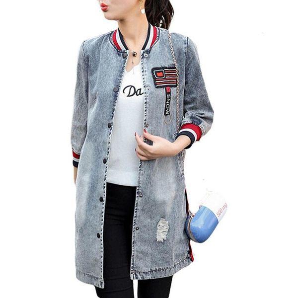 MISSKY de moda femenina de béisbol ocasional del uniforme del Medio largo abrigo de vestir exteriores del dril de algodón con mangas tres cuartos JacketMX190929