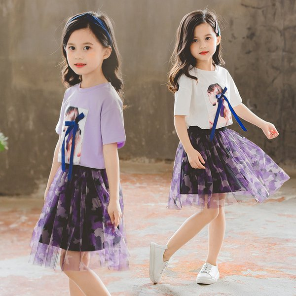 Retail girls boutique outfits summer fashion short sleeve printed tee+tutu skirt two piece matching set baby tracksuit kids designer clothes