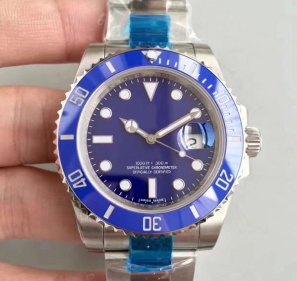 Reloj de pulsera automático de alta calidad de lujo para hombre reloj de zafiro 2836 Dial azul impermeable para buceo reloj de pulsera automático para hombres luminoso