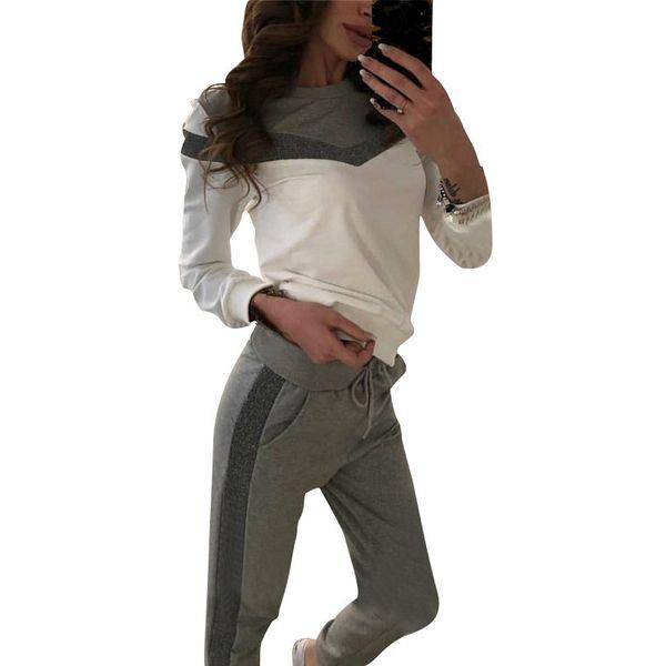 Mvgirlru Costumes Pour Femmes De Printemps De Printemps Costume De Sport Colorblock Cut Pull Tops Et Pantalons 2 Pièce Femmes Tenues Survêtements MX190809