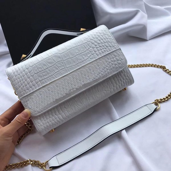 white color Women's Messenger Bag Sweet Style Small Square Bag Shoulder Bag The latest explosion of cowhide is very versatile Size: 23