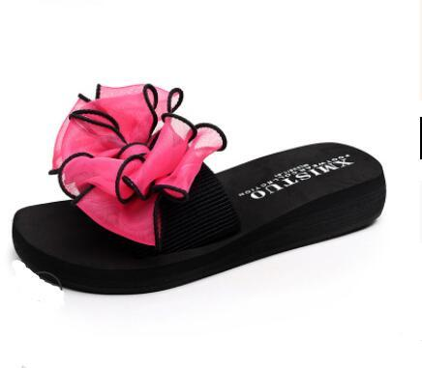 Summer ladies word slippers butterfly flowers beach shoes female sandals wedges non-slip slippers women's Flip Flops
