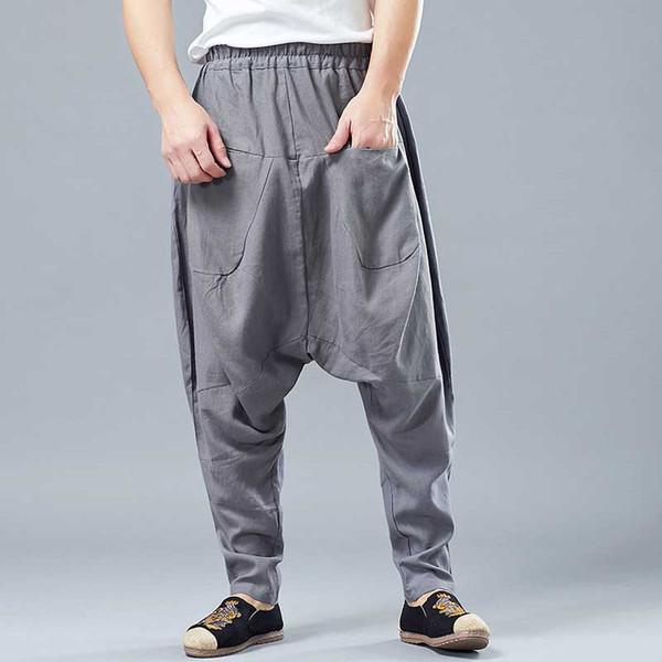 Lin Coton Coton Poche Avant Harem Pantalon Hommes Casual Rétro Lâche Pantalon Baggy Drop Crotch Hip Hop Pantalon Homme Vêtements