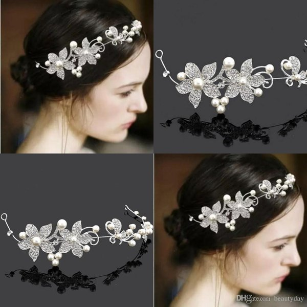 Silver Hair Flowers For Wedding Party Bridal Bridesmaid Baroque chic Crystal Pearls tiara Rhinestone crown headband Wedding Dress Studio