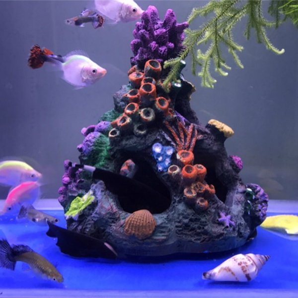 2019 Artificial Aquarium Coral Ornaments Fish Tank Decorative Rocks Decoration Coral Reef Cave For Fish Shrimp Hiding House Decor From Zijinflo